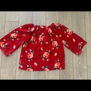 Abercrombie Kids Girls Red Floral Top